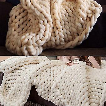 Couverture épaisse tricotée en laine chaude