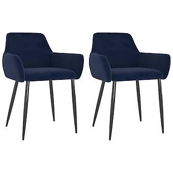 vidaXL تناول الطعام الكراسي 2 PCS. الأزرق المخملية