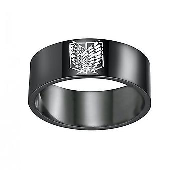 Attack On Titan Anime Ring Stainless Steel Man Ring For Collection Black