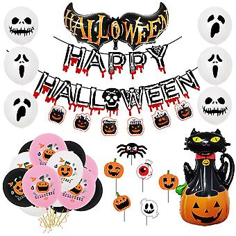 Halloween party letters for decoration balloon pumpkin hanging flag expression door hanging suit