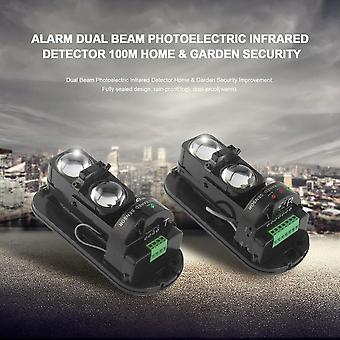 Alarm Dual Beam Photoelectric Infrared Detector 100m Home & Garden Security