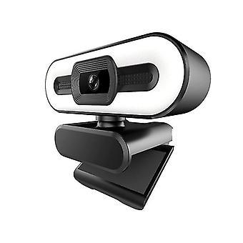 Web-kamera Mikrofoni PC Kannettava tietokone Pöytätietokoneen USB-kamerat, joissa on LED-valo automaattinen tarkennuskamera (2k)