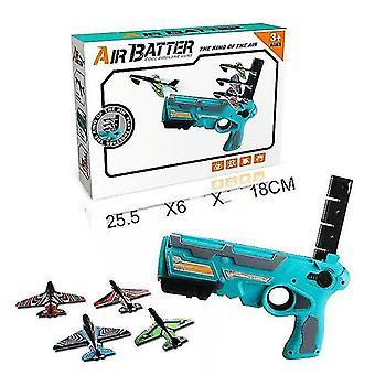 Egy kattintással Ejection modell hab repülőgép launcher Gun Toy Kids kültéri játék (kék)