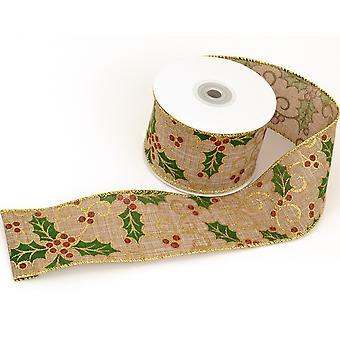 10m Natural Hessian Holly 60mm cinta de Navidad con cable para artesanías de envoltura de regalo