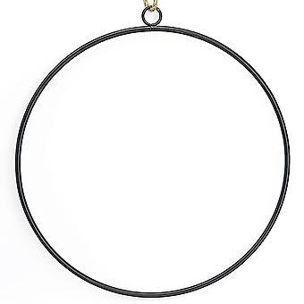 25cm schwarz Metall Reifen mit Jute Schnur für Floristik Kranz oder Makramee Handwerk
