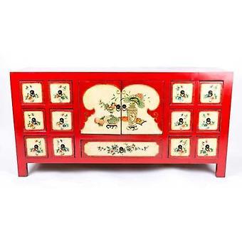 Fine Asianliving kinesiske skænk håndmalede blomster Rød W80xD45xH157cm