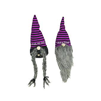 Set of Two Trick Or Treat Gnomes Plush Shelf Sitters Halloween Home Decorations