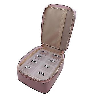 Transparent 8-grid Small Medicine Box Travel Plastic Pillbox With Leather Bag
