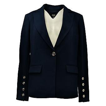 Dennis Basso Women's Blazer Luxe Crepe Blazer w/Button Sleeves Blue A373117