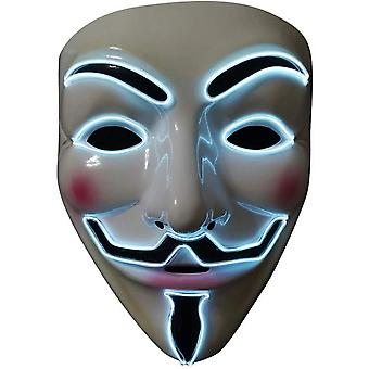 Led Mask V For Vendetta Neon El Wire sytytä Halloween Cosplay Party