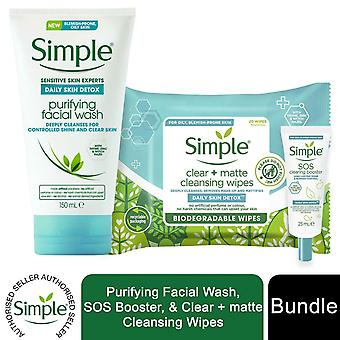 Simple Daily Skin Detox Face Wash 150ml, SOS Booster 25ml & Nettoyage Lingettes 20pc