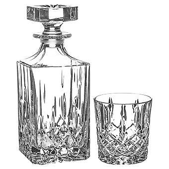5 Stück Orchester Whisky Dekanter & Gläser Set Vintage Cut Glas Spirit Holder