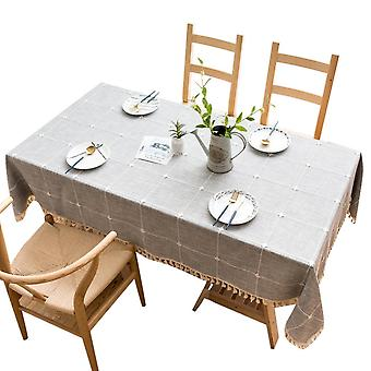 Homemiyn Plaid Printing Dustproof Tablecloth With Tassels,stain Resistant For Outdoor Picnic, Kitchen And Holiday Dinner