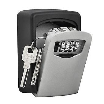 Serrure de combinaison extérieure sécuritaire à clé murale à 4 chiffres - Noir / Gris