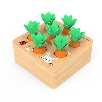 Holzspielzeug Baby Spielzeug Set Ziehen Karotten Form Passende Größe Kognition Pädagogisches Holz Baby|