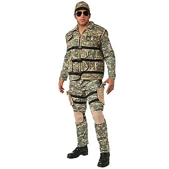 Seal Team 2 Deluxe Army Soldier Military Camouflage Uniform Men Costume