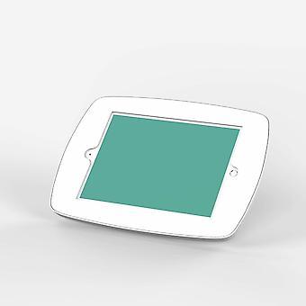 Tablet-tietokoneen telakat seisovat lounge-tabletin turvakotelossa valkoisena
