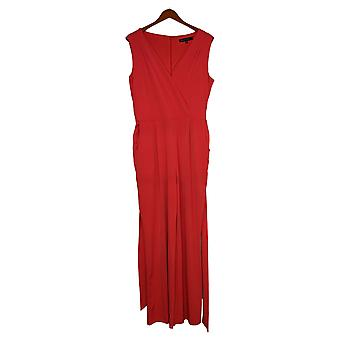 Colleen Lopez Jumpsuits Faux Wrap Tie Waist One-Piece Red 696407