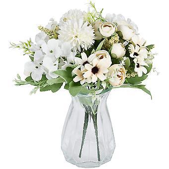 2 חתיכות זר מלאכותי ורדים אדמוניות מזויפות הידרנג'אה ציפורנים מלאכותיים סידורי פרחים