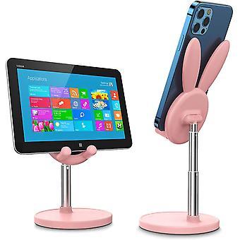 Kanin justerbar mobiltelefonhållare rosa