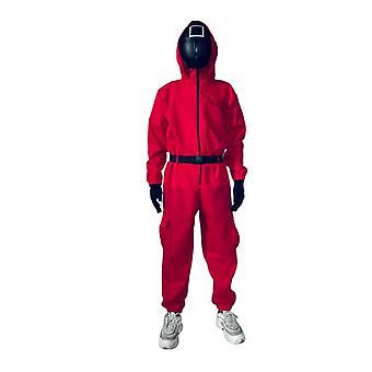 イカゲームハロウィーン赤ジャンプスーツコスプレコスチュームハロウィーンパーティーラウンド+マスク