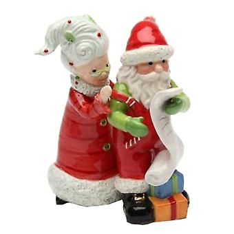 Mrs Claus and Santa Checking List Twice Christmas Holiday Salt and Pepper Set