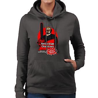 Hammond and Gage Chainsaws Buzzsaw Running Man Women's Hooded Sweatshirt