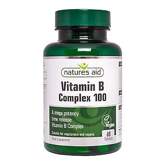 Natures Aid Mega Vitamin B Complex 100 Time Release, 60 tablets. Suitable for Vegans.