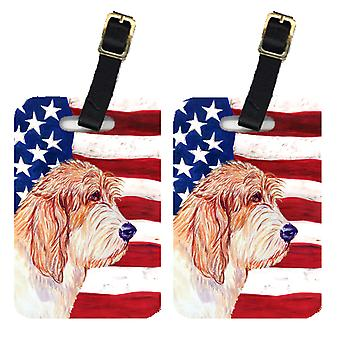 Par USA amerikanske flagget med Petit Basset Griffon Vendeen bagasjelapper