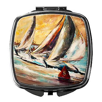 Carolines Treasures  JMK1244SCM Boat Race Sailboats Compact Mirror
