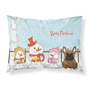 Merry Christmas Carolers French Bulldog Brown Fabric Standard Pillowcase
