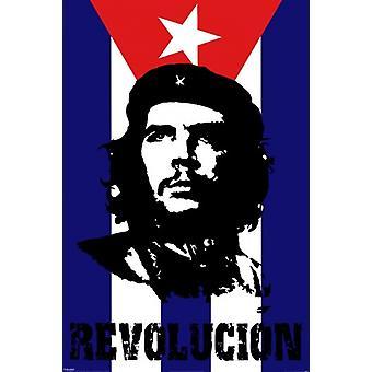 Che Guevara - Revolucion - drapeau affiche Poster Print