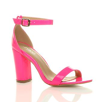 Ajvani womens block high heel ankle strap peep toe strappy sandals shoes pumps party