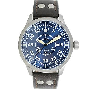 Aristo mens watch wrist watch automatic blue 47 Navigator 3 H 160 leather