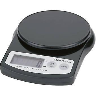 MAULalpha 2000 G brief schalen Maul gewicht 2 kg leesbaarheid 1 g accu-aangedreven zwart