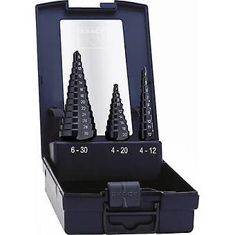 Exakt 50071 HSS steg borr bit Set 3-delat 4-12 mm, 4-20 mm, 6-30 mm TiAIN trekantigt skaft 1 set