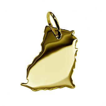 Trailer map GHANA pendants in massive 585 yellow gold