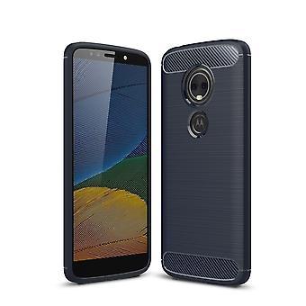 Motorola Moto G6 play TPU case carbon fiber optics brushed protective case Blue