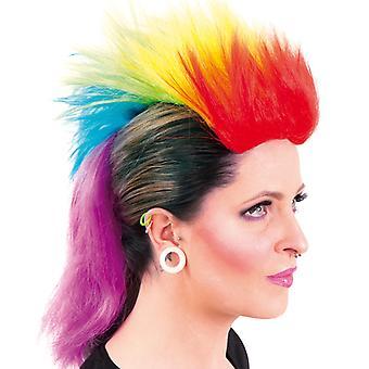 Peruca punk Iroquois unicórnio Rainbow