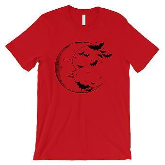 月とコウモリ メンズ レッド t シャツ
