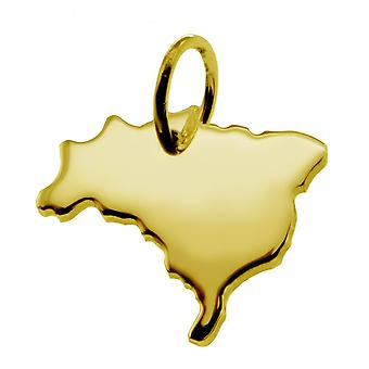 Trailer map pendants in gold yellow-gold in the form of Brazil