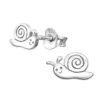 Snail - 925 Sterling Silver Plain Ear Studs - W21367x
