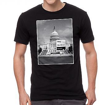 Humor-Schlaf Herunterfahren Neustart Washington Capitol Grafik T-Shirts für Herren schwarz