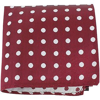Knightsbridge Neckwear Polka Dot Silk Pocket Square - Burgundy/White