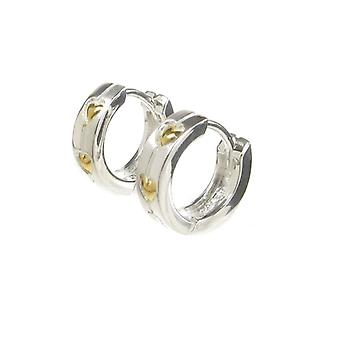 Cavendish French Double Gold Heart Sterling Silver Hoop Earrings