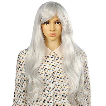 TRIXES Long Grey Wig Soft Waves  Natural Looking Wavy Layered Synthetic Hair