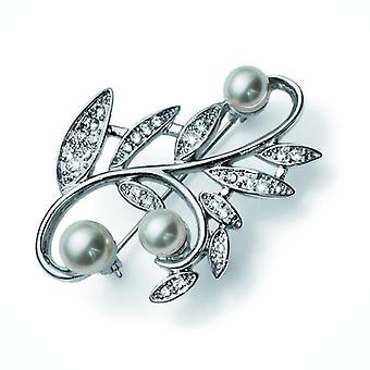 Oliver Weber brosje blad perle Rhodium krystall