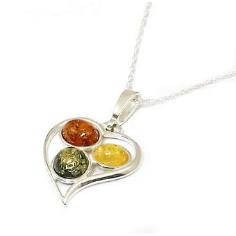 Toc Sterling Silver Heart Shaped Tri Coloured Amber Pendant