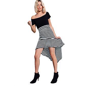 LMS Off The Shoulder Drop Hem Dress In Black And White Stripe