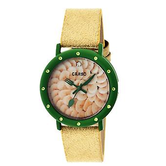 Crayo Slice Of Time Suede-Band Ladies Watch - Green/Yellow